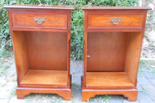 Pair Yew Bedside Cabinets